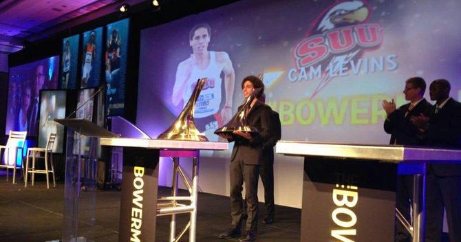 Former SUU runner Cameron Levins holds the Bill Bowerman Award for best track and field athlete in 2012. Levins beat out Florida's Tony McQuay and Andrew Riley of Illinois for the award, which is college track and field's equivalent to the Heisman in college football.