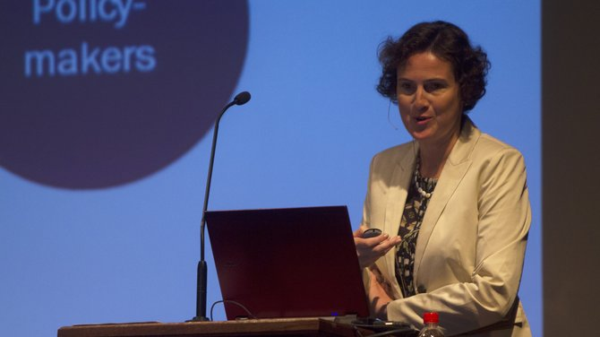 """Christine Schweiger, professor of science entrepreneurship at FHWien University of Applied Sciences, Austria, spoke at Tuesdays convocation in a lecture titled """"Entrepreneurship Research: Change in Small and Medium-Sized Enterprises""""."""