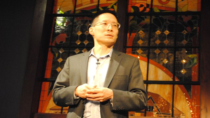 Eric Liu, a writer from Seattle Wash. spoke to students at convocation on Thursday.
