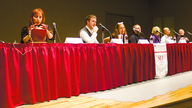 Panelists at Tuesday's Convocation answered questions about the avant-garde movement in the Sterling R. Church Auditorium.