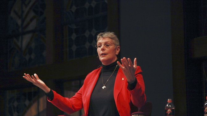 Kathryn Clark, NASA's chief scientist for human exploration and the international science program, spoke for this week's convocation in the Gilbert Great Hall Tuesday on a lecture titled Find It, Fix It, Fly It: NASA Leadership and Disasters.