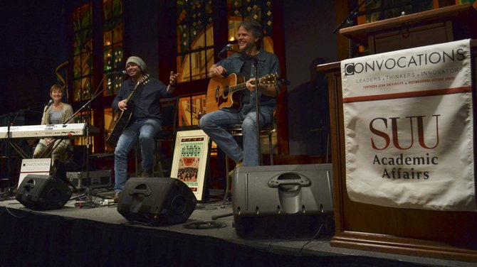 "Lari White, James House and Marc Beeson, legendary Nashville songwriters, presented for the Bluebird Cafe at the Convocation event ""Songwriters in the Round"" in the Gilbert Great Hall."