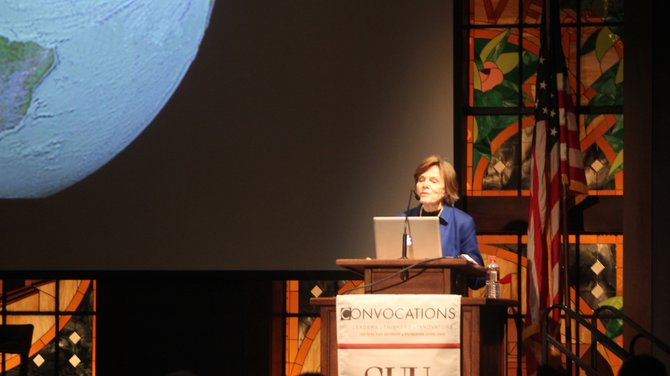 Sylvia Earle a National Geographic Society Explorer in Residence talked about the ocean at covocations on Tuesday.