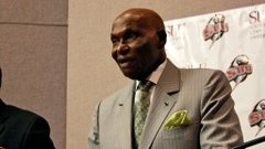 Senegal President Abdoulaye Wade speaks with Cedar City media.